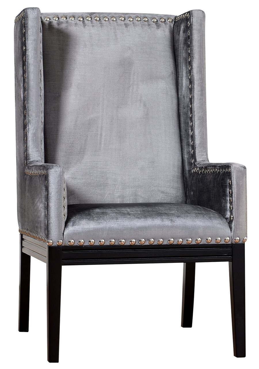 Amazon.com: TOV Furniture The Tribeca Collection Traditional Style Linen  Fabric Upholstered Living Room Chair With Silver Nailhead Trim, Grey:  Kitchen U0026 ...