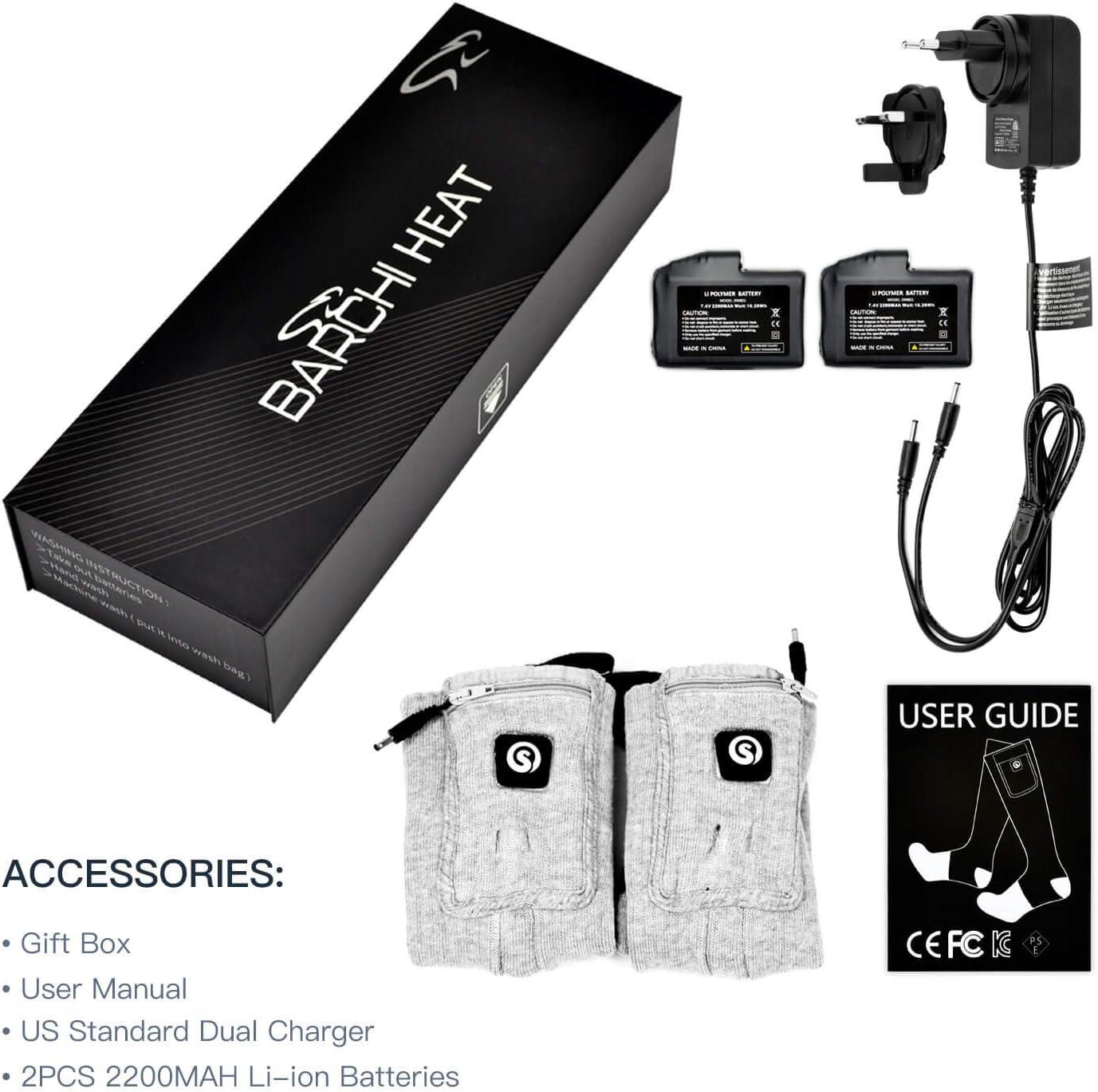 BARCHI HEAT 7.4V 2200MAH Chaussettes chauff/ées,Batterie Rechargeable Chaussettes chauffantes pour Faire du Ski de Neige Faire du Ski Chaussettes motoris/ées /à Piles