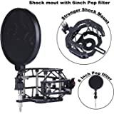 "Microphone Shock Mount with Pop Filter Mic Windscreen Shield for Studio Radio Broadcasting and Recording, Anti Vibration Suspension Metal Mic Mount (6"" Pop filter shock mount)"