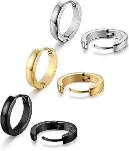 Jstyle Stainless Steel Mens Womens Hoop Earrings Huggie Ear Piercings
