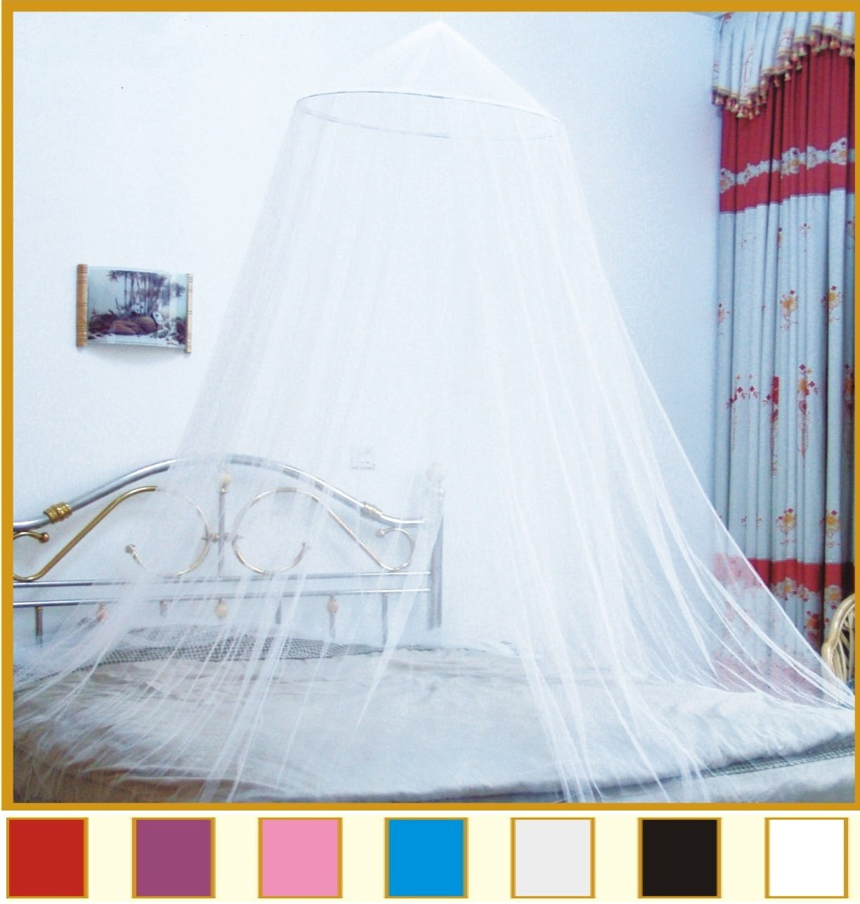 Amazon.com Octorose Round Hoop Bed Canopy Netting Mosquito Net Fit Crib Twin Full Queen King (Buttercream) Home u0026 Kitchen & Amazon.com: Octorose Round Hoop Bed Canopy Netting Mosquito Net ...