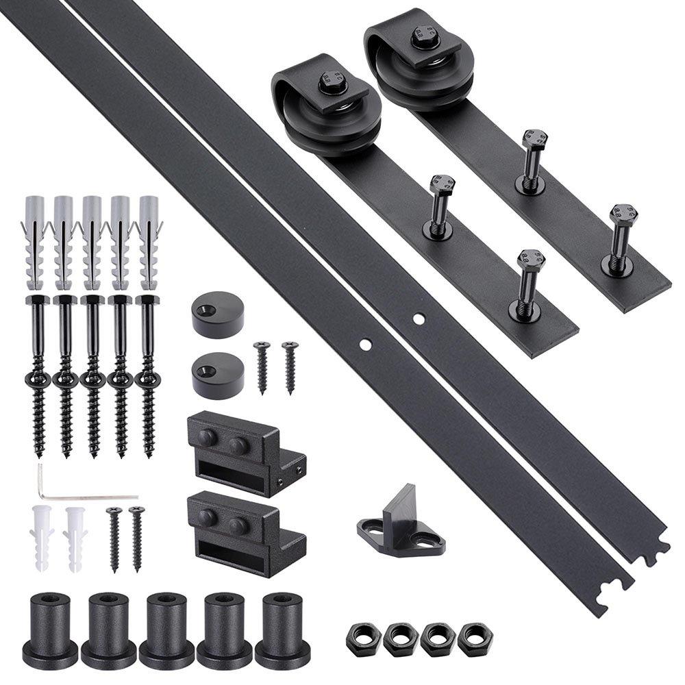 Yescom 6.6 FT Carbon Steel Sliding Barn Door Hardware Kit Track Rail Roller Set Black Country Style for Wooden Wall