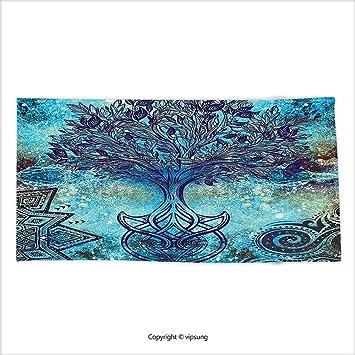 Vipsung Mikrofaser Ultra Weiche Badetuch Indian Decor Grunge Style Baum  Muster Mit Ethnischen Mandala Und Spirale