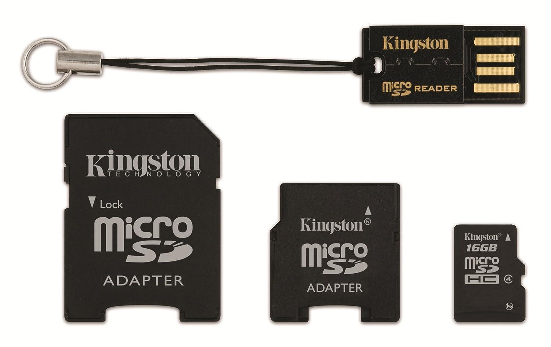 Kingston Mobility Kit Carte Micro SDHC + adaptateurs SD et Mini SD 16 Go Noir MBLYG2/16GB MBLYG216GB Carte mémoire