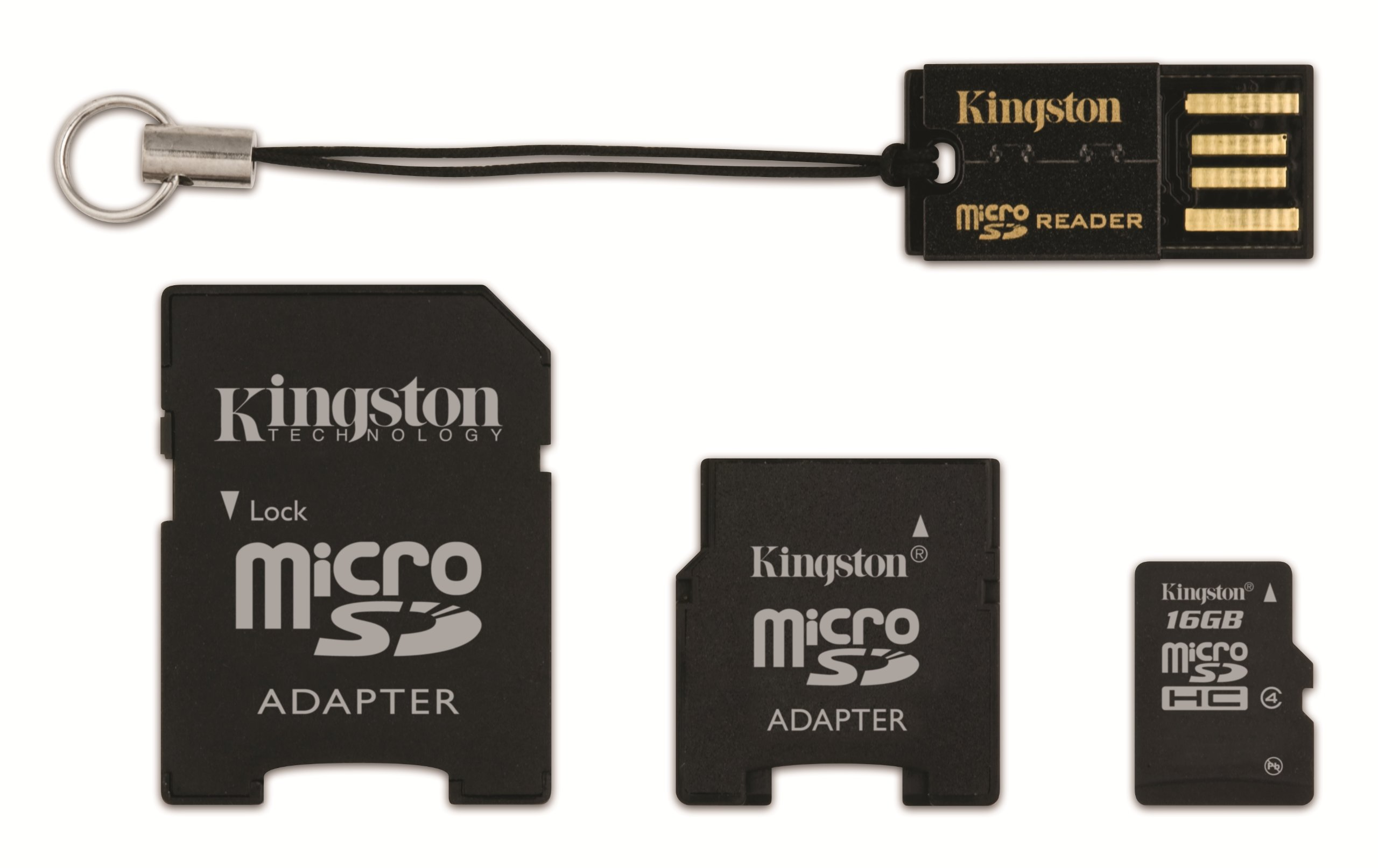Kingston Mobility Kit - 16 GB microSDHC Flash Memory Card with SD and miniSD Adapters + USB Reader MBLYG2/16GB