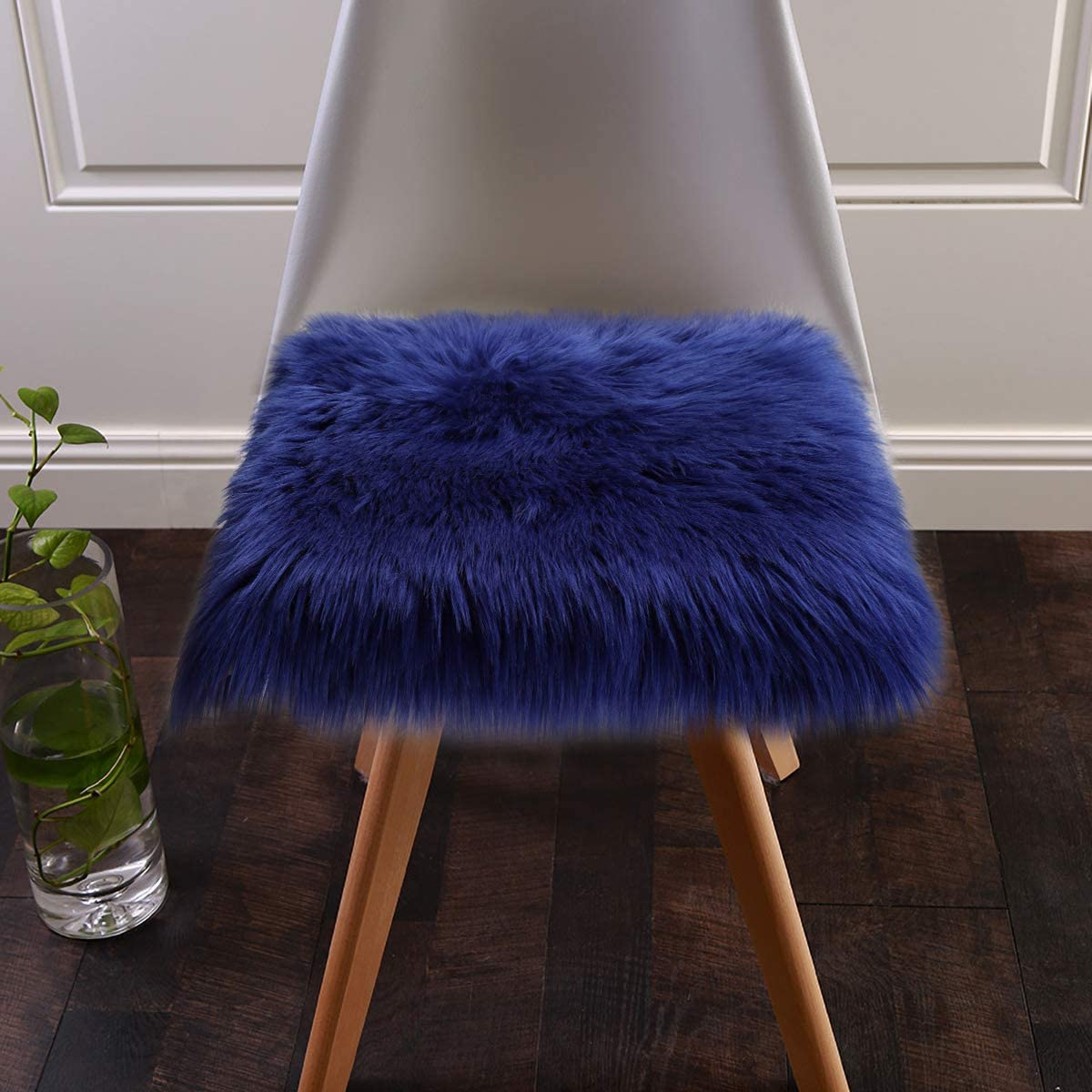 Softlife Faux Fur Sheepskin Area Rug Shaggy Wool Carpet for Bedroom Living Room Home Decor (1.6ft x 1.6ft Square, Royal Blue)