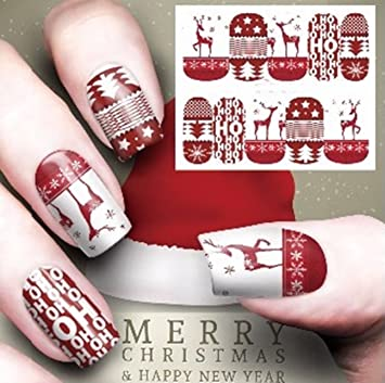Amazon Com 1 Sets Red Reindeer Christmas Nail Art Sticker Water Transfer Nails Wrap Paint Tattoos Stamper Plates Templates Tools Tips Kits Smart Popular Xmas Winter Snow Holiday Stick Tool Vinyls Decals Kit