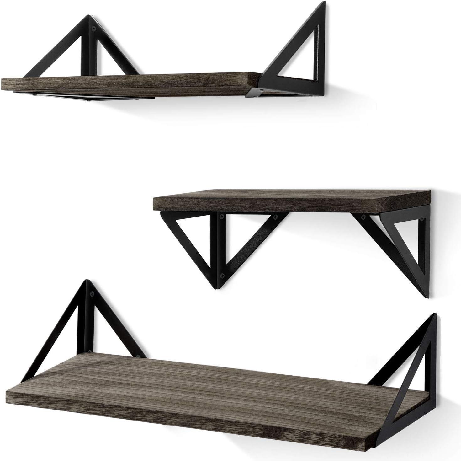 BAYKA Floating Shelves Wall Mounted, Rustic Wood Wall Shelves Set of 3 for Bedroom, Bathroom, Living Room, Kitchen (Grey)