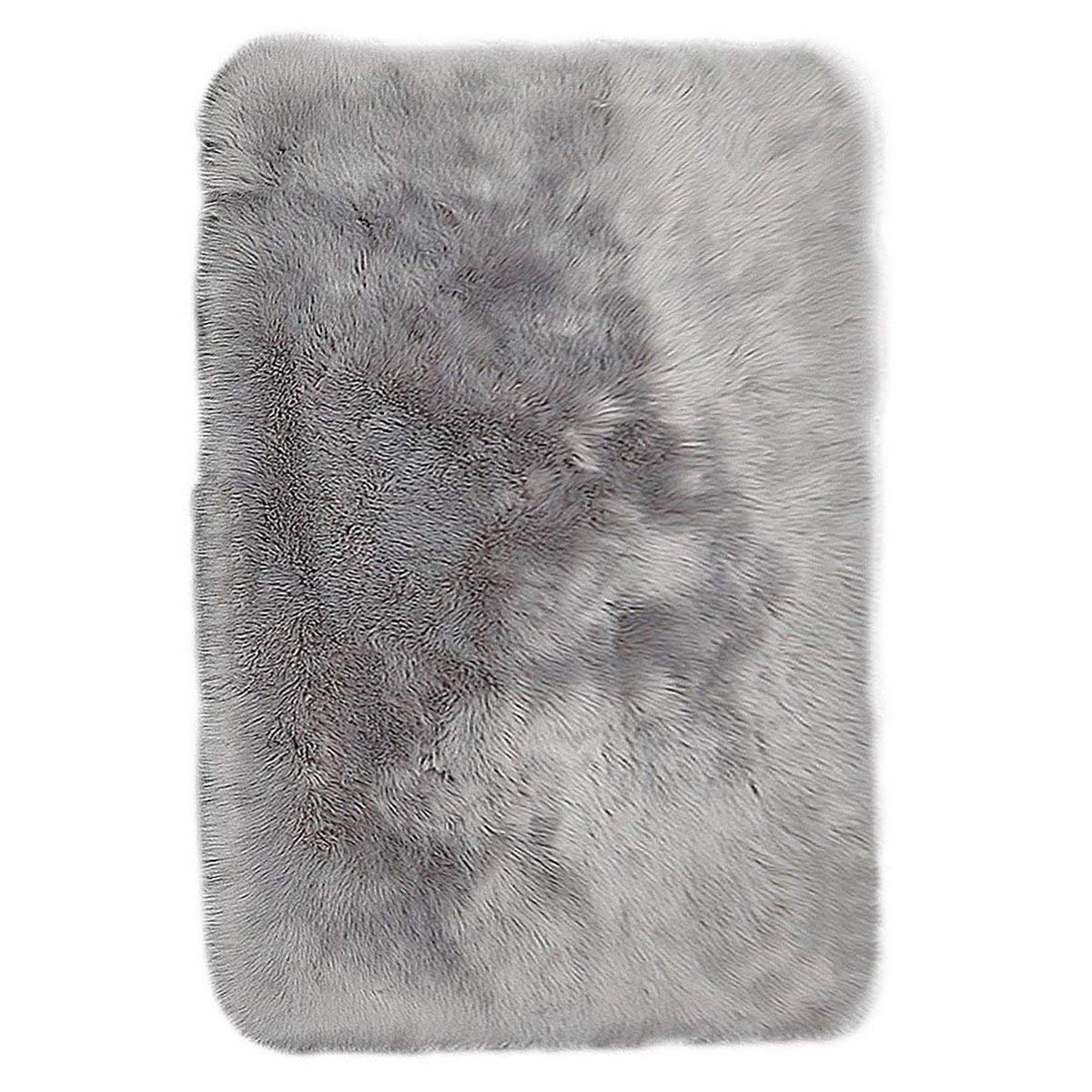 Junovo Luxury Plush Fuax Sheepskin Area Rug Fluffy Fuax Fur Shag Carpet, 2ft x 3ft Grey
