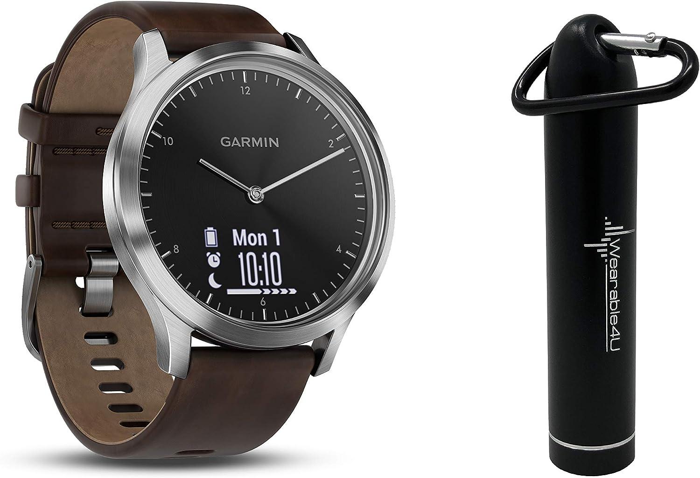Garmin Vivomove HR Multi Sport Hybrid Smartwatch with Wearable4U Compact Power Bank Bundle (L: 148-215 mm, Premium, Black/Silver)
