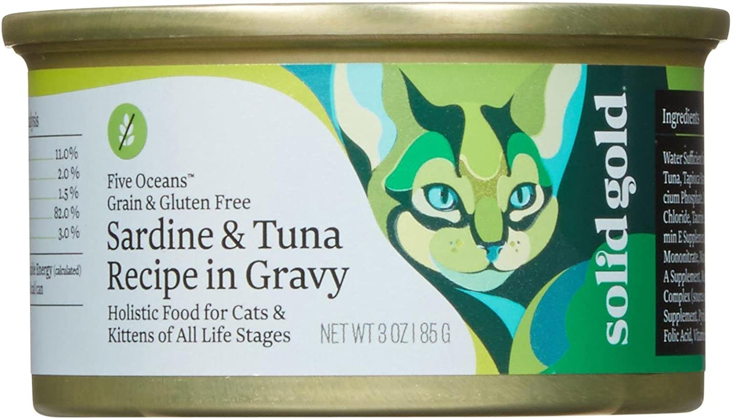 Solid Gold Five Oceans Holistic Wet Cat Food, Sardine And Tuna Recipe In Gravy, 3 Oz Can, 12 Count
