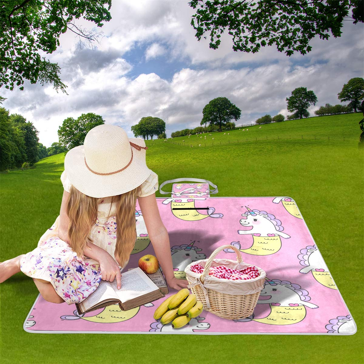 jeansame - Manta de Picnic con Manta diseño de Unicornios para cumpleaños, Helado, Manta con de Picnic, Camping, para Viajes al Aire Libre, Senderismo, Yoga, portátil, Plegable, 150 x 145 cm 16675f