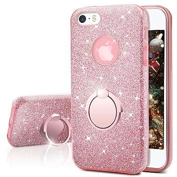 Funda iPhone SE, Funda iPhone 5S / 5, Miss Arts Carcasa Brillante Brillo con soporte, cubierta exterior de TPU suave + armazón interior de PC duro ...