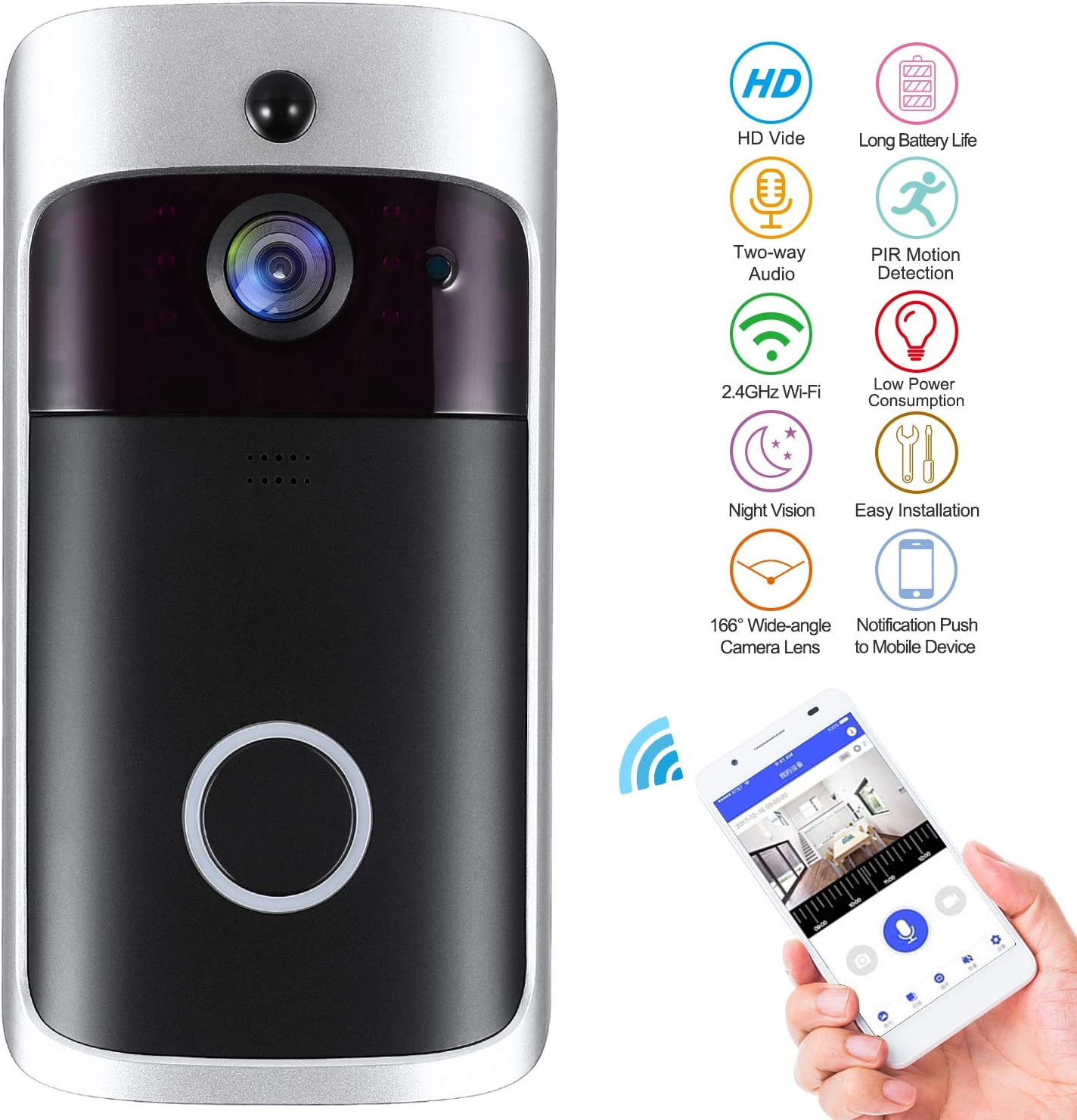 WiFi Smart Video Doorbell,Nestling Wireless Door Bell Smart Home 720P HD WiFi Camera Security with Two-Way Talk Video,PIR Motion Detection, Night Vision for iOS Android Google