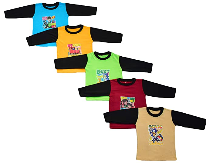 be2f24661cce ISAKAA Baby 5 Cotton Full Sleeve Tshirts - New Full Sleeves  Amazon.in   Clothing   Accessories
