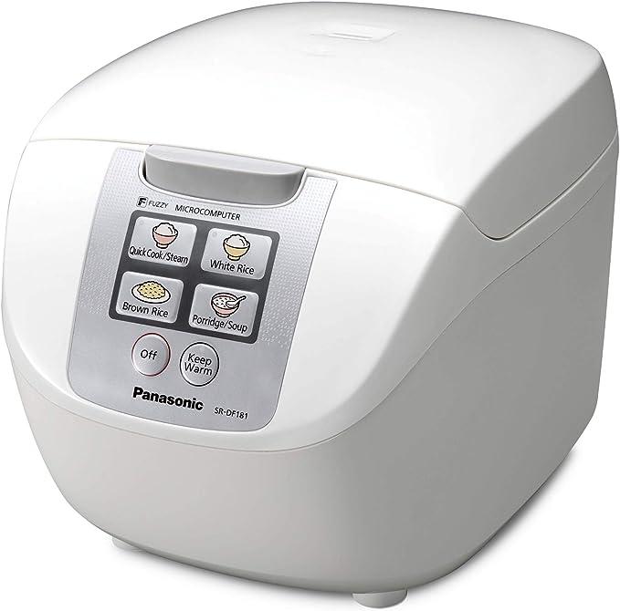 Panasonic SR-DF181 - Arrocera / Vaporera eléctrica de 1.8 l controlada por microordenador (750W, Fuzzy Logic, 6 programas de cocción preajustados, mantener caliente, compacto) color blanco: Amazon.es: Hogar