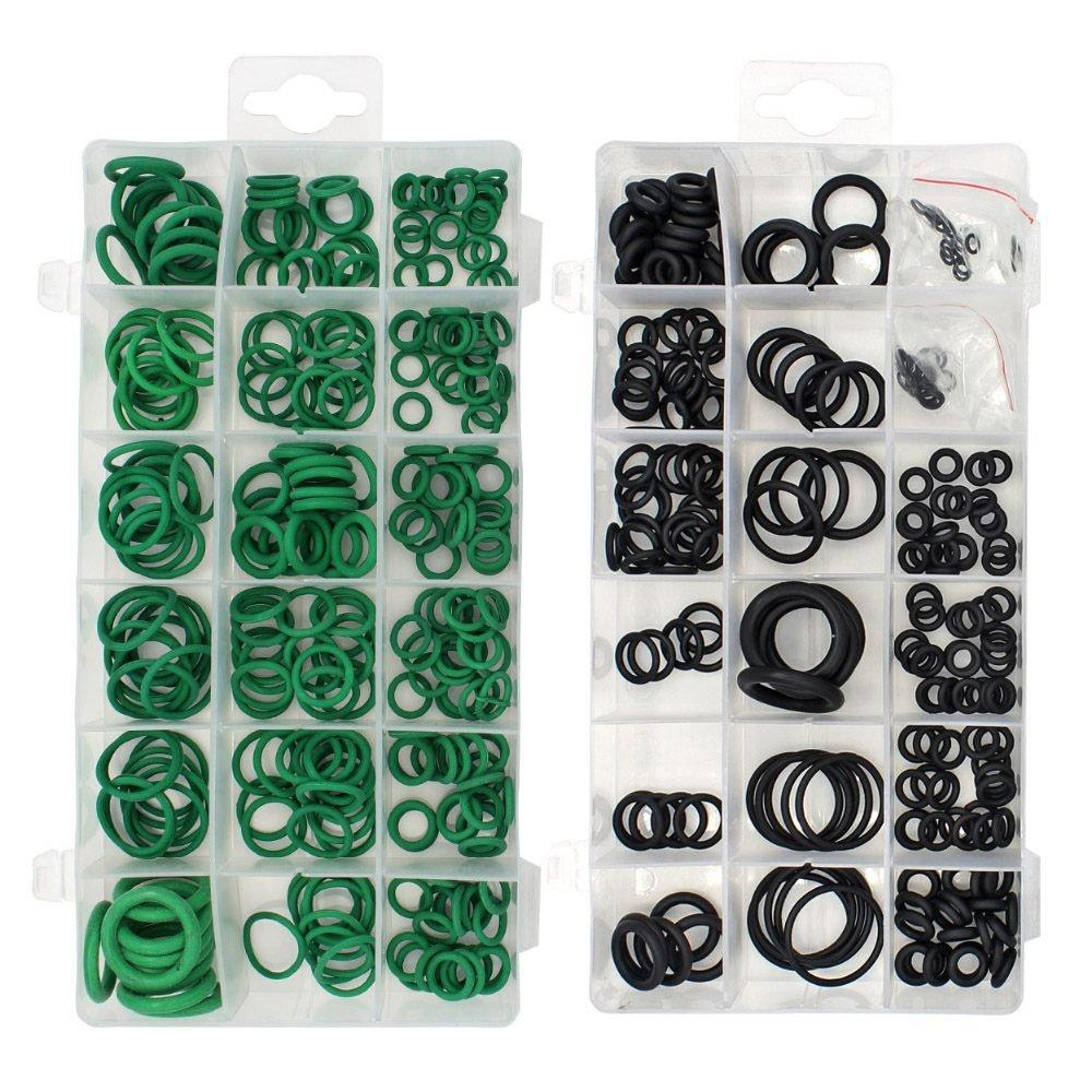 SODIAL 495PCS 36 Tamanos O-ring Kit Negro y Verde Metrico O ring Seals Rubber O ring Juntas de resistencia al aceite 270pcs + 225pcs