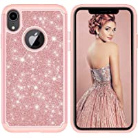 iPhone XR Case, CUSKING Slim Glitter Shiny Case Heavy Duty Bumper Case Anti-Shock Shockproof Cover for Apple iPhone XR - Rose Gold