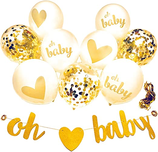 Amazon Com Baby Shower Decorations Neutral Decor Strung Banner 9pc Balloons W Ribbon Gold Confetti White Kit Set Hang On Wall Glitter Unisex Pregnancy Announcement Gender Reveal Party By Youparty Kitchen
