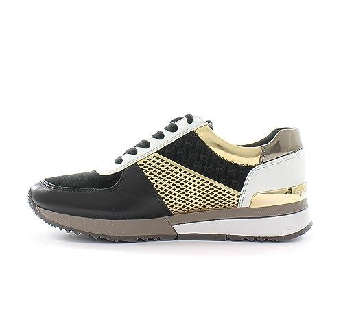 MICHAEL Michael Kors Allie Trainer Black/Gold Metallic Leather Women's  Sneaker Shoes ...