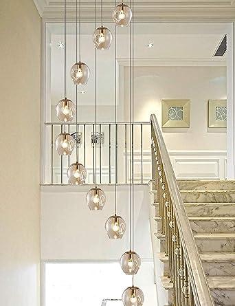 10 Bolas de cristal Araña espiral Escalera Araña larga Edificio dúplex Araña grande Sala de estar Villa Hueco Luz de escalera moderna Lámpara colgante larga 55x200cm (Color: gris-Sprial): Amazon.es: Iluminación
