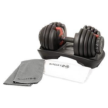 Sport24 Set de Mancuernas de Peso Ajustable-Discos con Peso, Juego de Pesas para