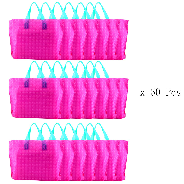 値引 パーティーバー。カラフルなリサイクル可能Groceryショッピングバッグ、防水性、軽量PEプラスチックハンドバッグ、パーティーFavorトートバッグバッグ ピンク ピンク、素晴らしいギフトバッグ オレンジ オレンジ B076FS39Y9 ピンク ピンク, チネンソン:bcfac05e --- 4x4.lt