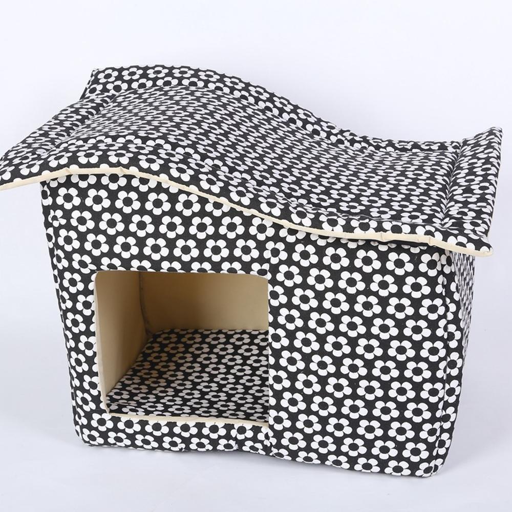 D Premium Dog's Bed, Pet Bed for Removable Zipper pet House Oblique top high-Density Sponge mat Kennel 44  30  37cm Canvas (color   D)