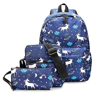 52c81665eee6 Water-Resistant Unicorn School Backpack for Teen Girls and Boys - 10-Piece  Gift