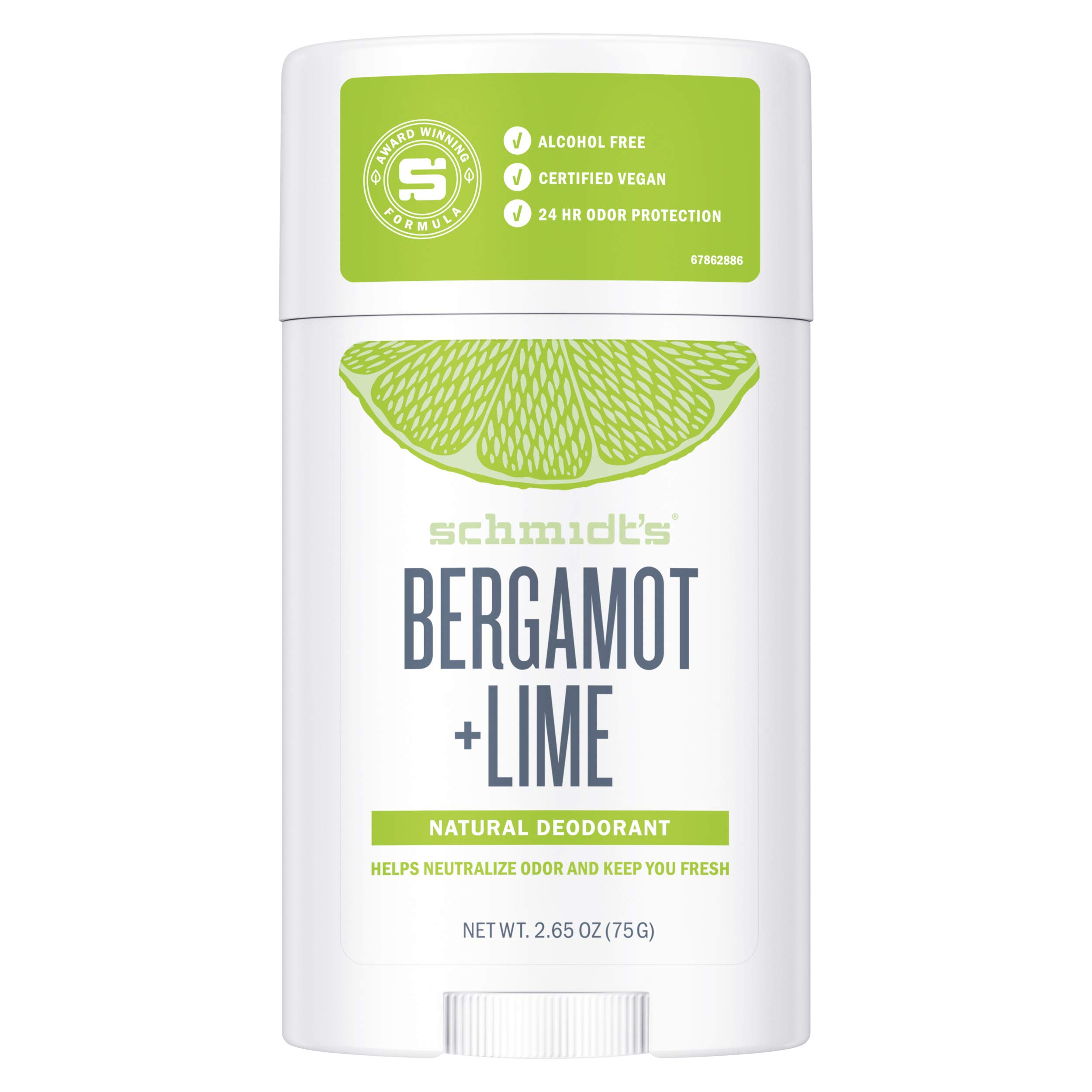 Schmidt's Bergamot And Natural Lime Deodorant Stick For Men and Women, Fresh And Clean Fragrance, Odour Protection And Wetness Relief, Aluminium Free, Natural Deodorant (75g)