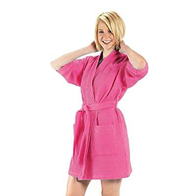60% Cotton Waffle Women Robe, Thigh Length Kimono Robe for Women, One Size, Hot Pink Color at Amazon Women's Clothing store: Bathrobes