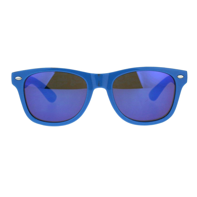 Kids Mirrored Lens Classic Retro Plastic Horn Rim Hipster Sunglasses SA106 mek001nrevo-blbl