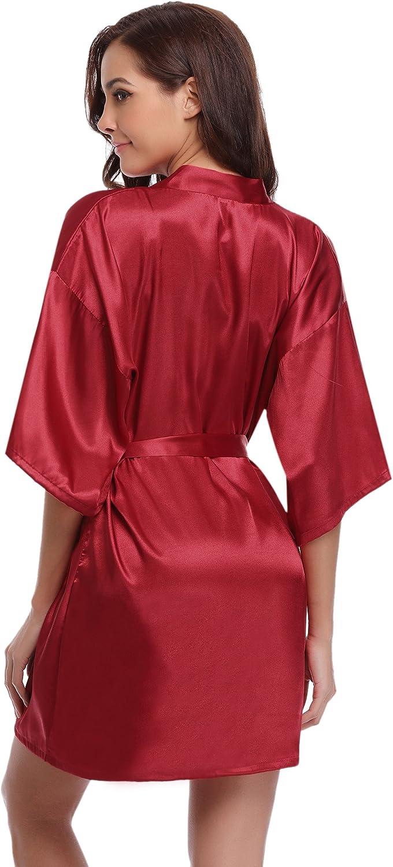Aibrou Damen Morgenmantel Kimono Satin Kurz Robe Bademantel Nachtw/äsche Sleepwear V Ausschnitt mit G/ürtel