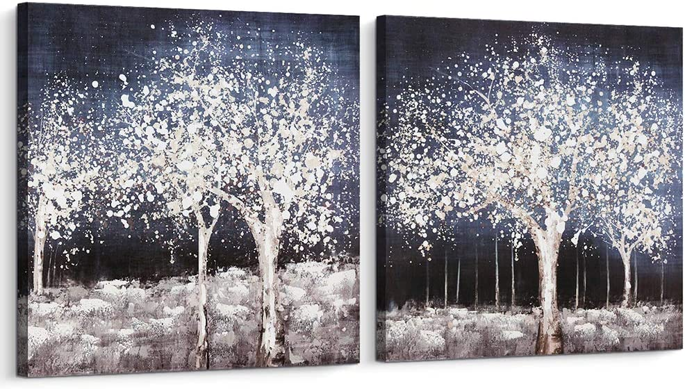 """Canvas Wall Art Living Room Decor, Abstract Tree Paintings on Blue Canvas Print Natural Forest Landscape Artwork, Gallery Wrapped, 24""""x24"""" x 2 pieces"""