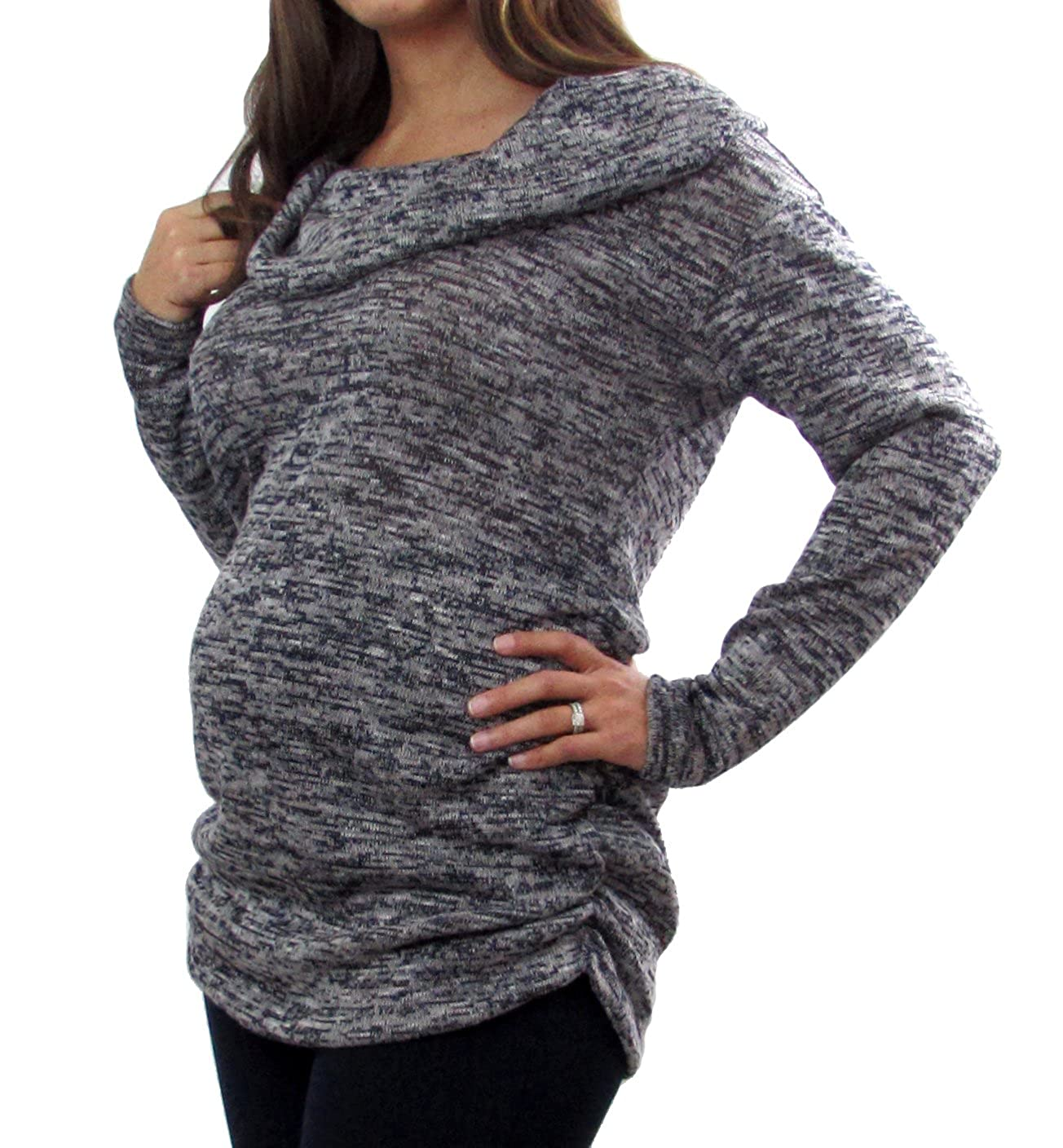 Embrace Your Bump Navy Cowl Neck Maternity Sweater