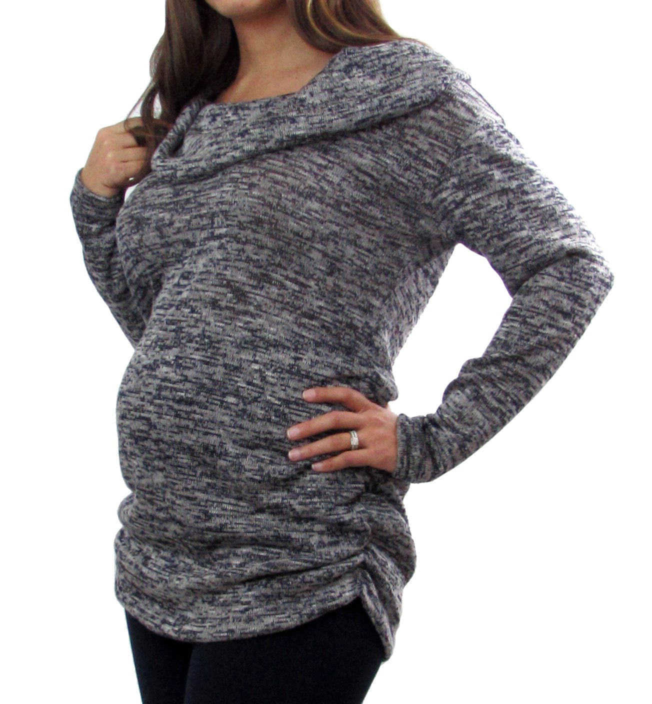 Embrace Your Bump Navy Cowl Neck Maternity Sweater (Small)