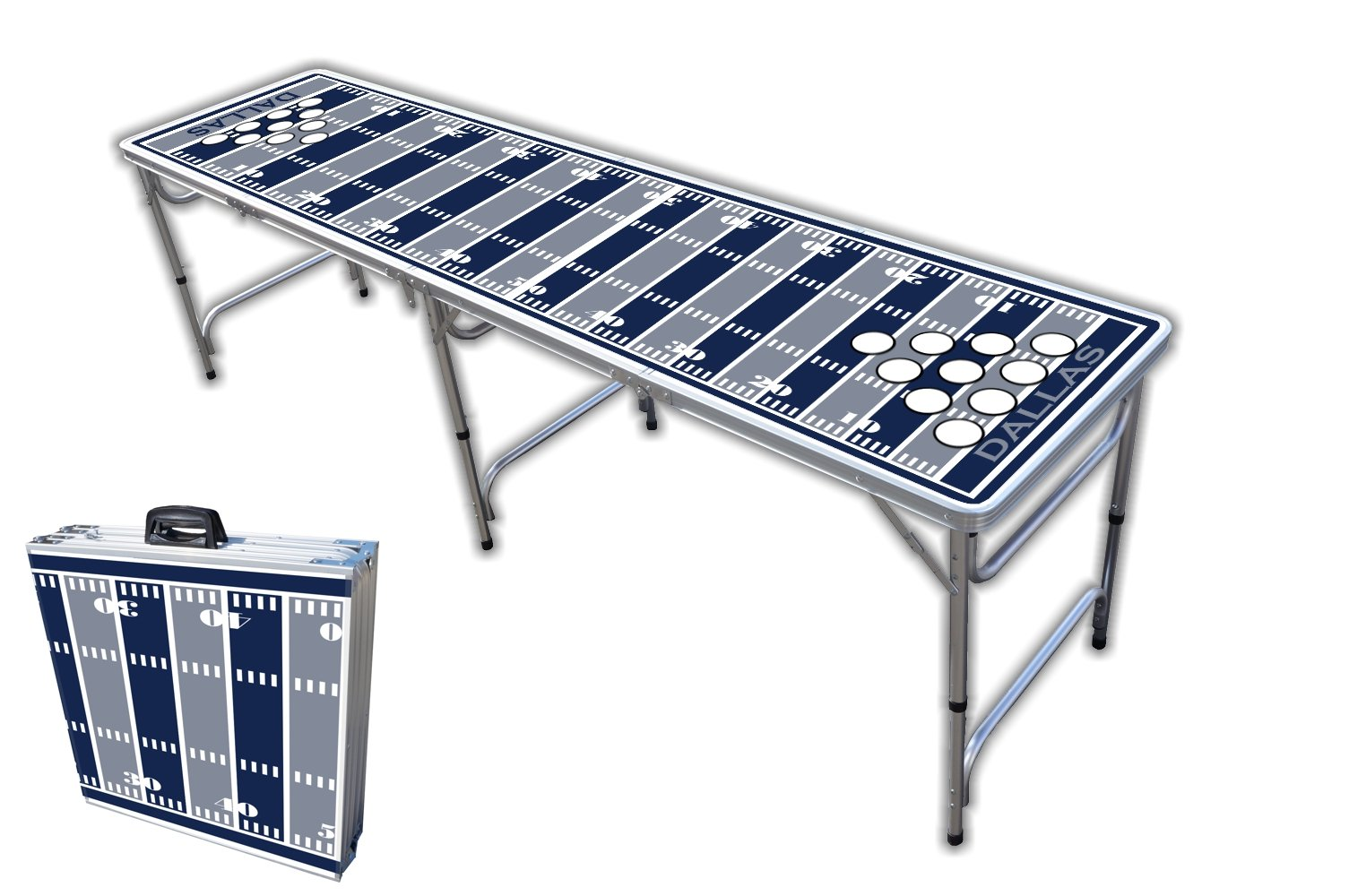 8-Foot Professional Beer Pong Table w/Holes - Dallas Football Field Graphic by PartyPongTables.com