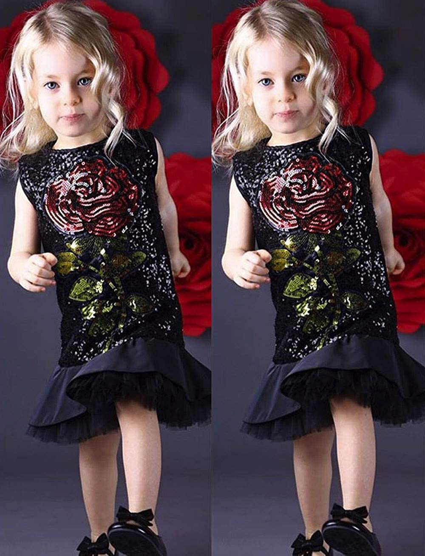 Efanhouy Robe D/éT/é De Fille B/éB/é Filles Robes De Princesse Imprimer Robe sans Manches Chic /ÉL/éGant Imprim/é Robes De F/êTe B/éB/éS Filles Infantile Enfants Robe Paillettes Fleur V/êTeme