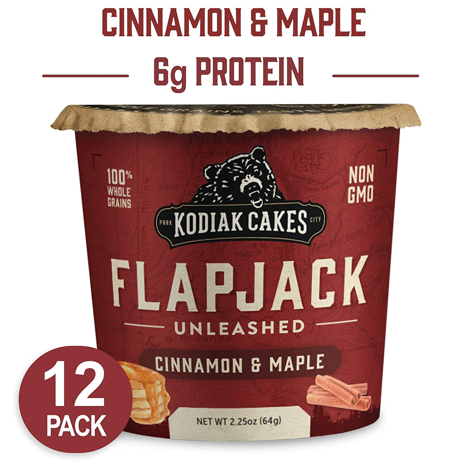 Kodiak Cakes Pancake On the Go, Cinnamon and Maple, 2.25 Ounce (Pack of 12) (Packaging May Vary)
