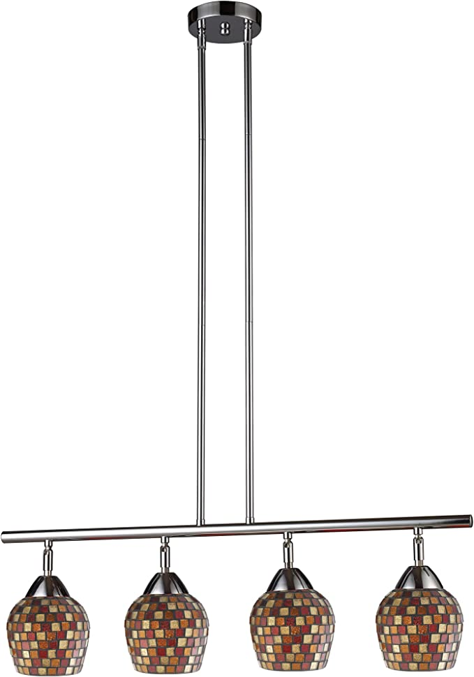 Elk 10153//4DR-C Celina 4-Light Linear In Dark Rust and Coco Glass