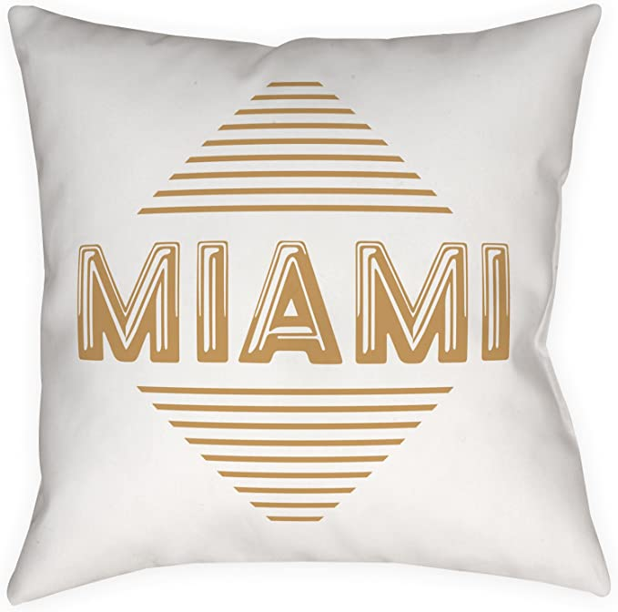 Deco City Art Deco Miami Decorative Throw Pillow White And Gold Square 14 X 14 With Filling Home Kitchen
