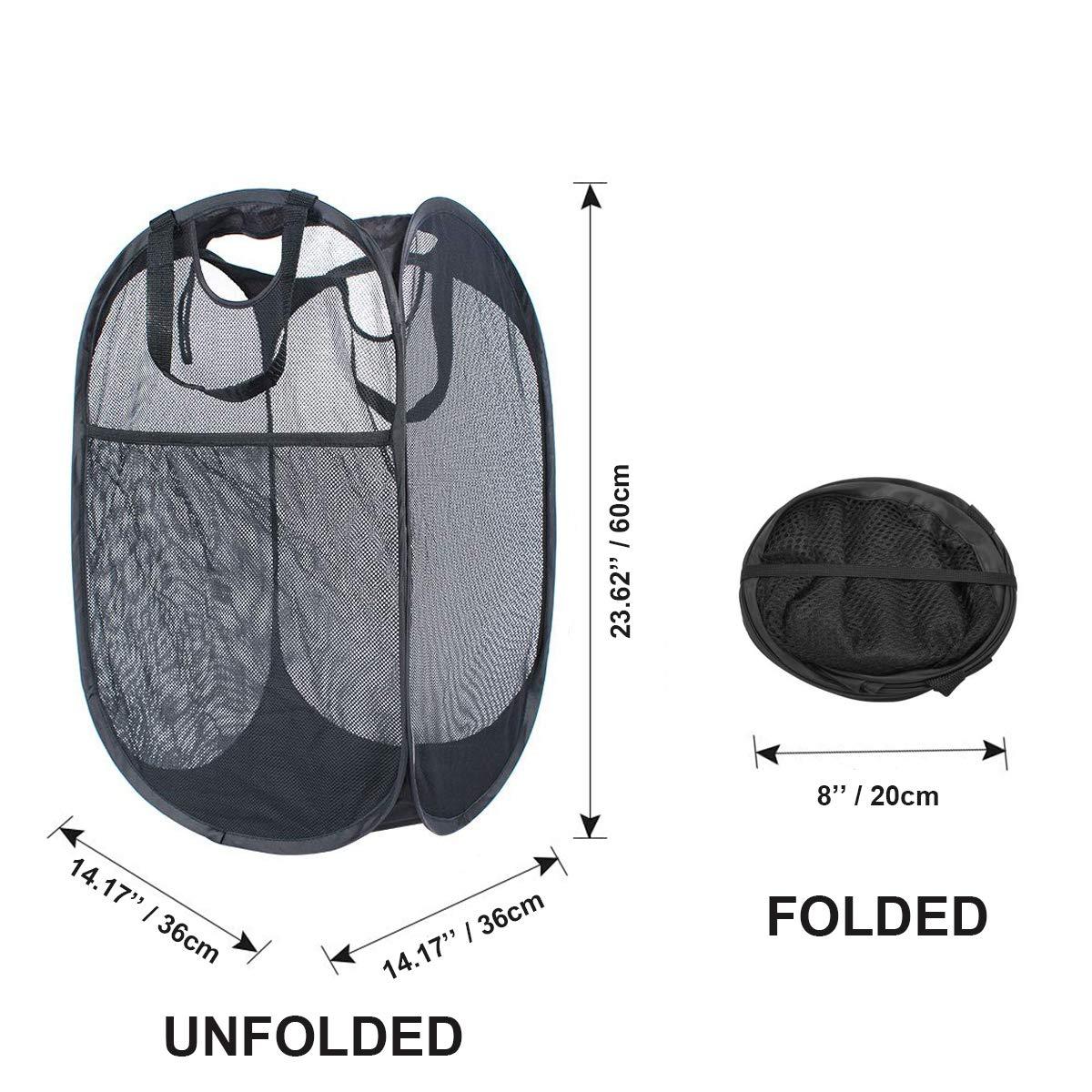 W/äschekorb f/ür schmutzige Kleidung Aufbewahrungstasche f/ür M/ädchen und Kinder 2packs-durableblack Netzstoff TropSetil Tragbarer Pop-Up-W/äschekorb Cartoon-Design strapazierf/ähig