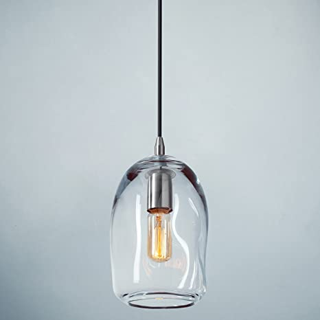 Casamotion Pendant Lighting Handblown Glass Drop Ceiling Lights Organic Contemporary Style Hanging Light Clear Glass Shade Brushed Nickel Finish 1