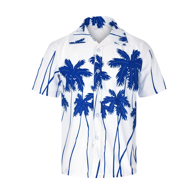 Hawaiian Shirt Men Hawaiian Shirt Beach Hawaii Party Summer Holiday,Blue,M,United States