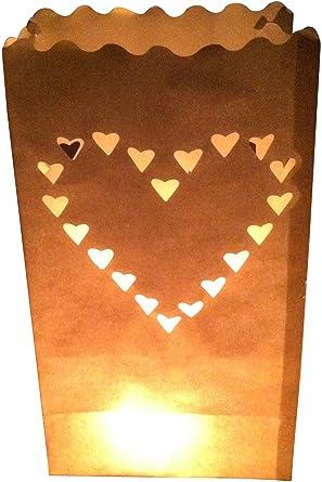 10-pc Bolsas de luz, lichtertüten Corazón - para Luces de Té ...