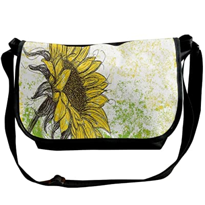 Lovebbag Floral Print With Sunflowers In A Fiels Garden Sketchy Abstract Detail Image Crossbody Messenger Bag
