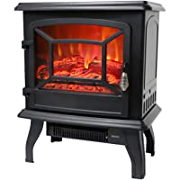 ROVSUN 20″ H Electric Fireplace Stove Space Heater 1400W Portable Freestanding with Thermostat, Realistic Flame Logs Vintage Design for Corners, 110V, 17″ L x 9″ W x 20″ H CSA Approved