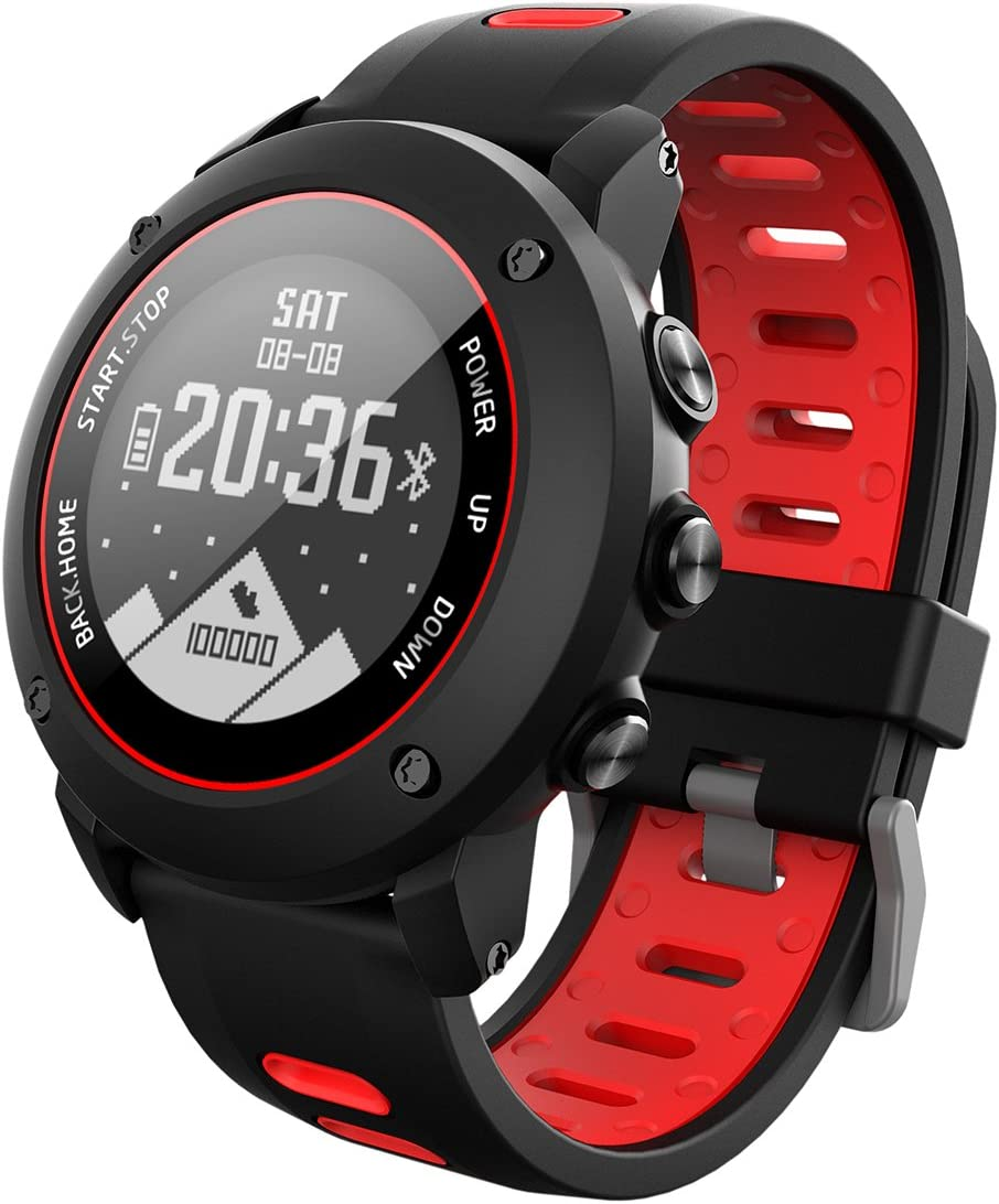 OOLIFENG GPS Reloj Inteligente, Fitness Tracker con Altímetro Barómetro Brújula Pulsómetros IP68 Impermeable Digital Reloj para Deportes Al Aire Libre