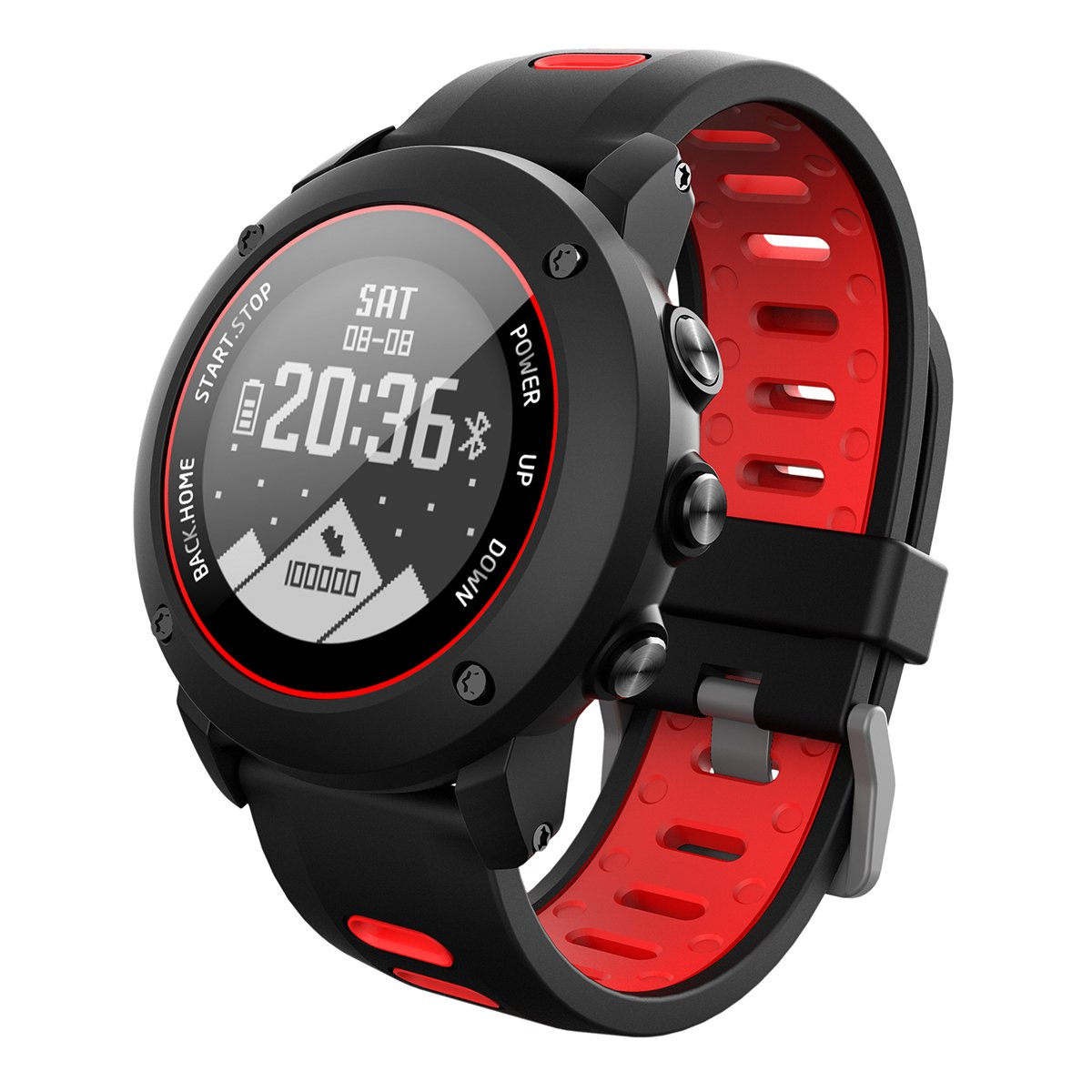 OOLIFENG GPS スポーツスマートウォッチ フィットネストラッカー 高度計 気圧計 コンパス 心拍数モニター IP68 防水デジタルウォッチ アウトドアスポーツ用  レッド B07KBYCTMT