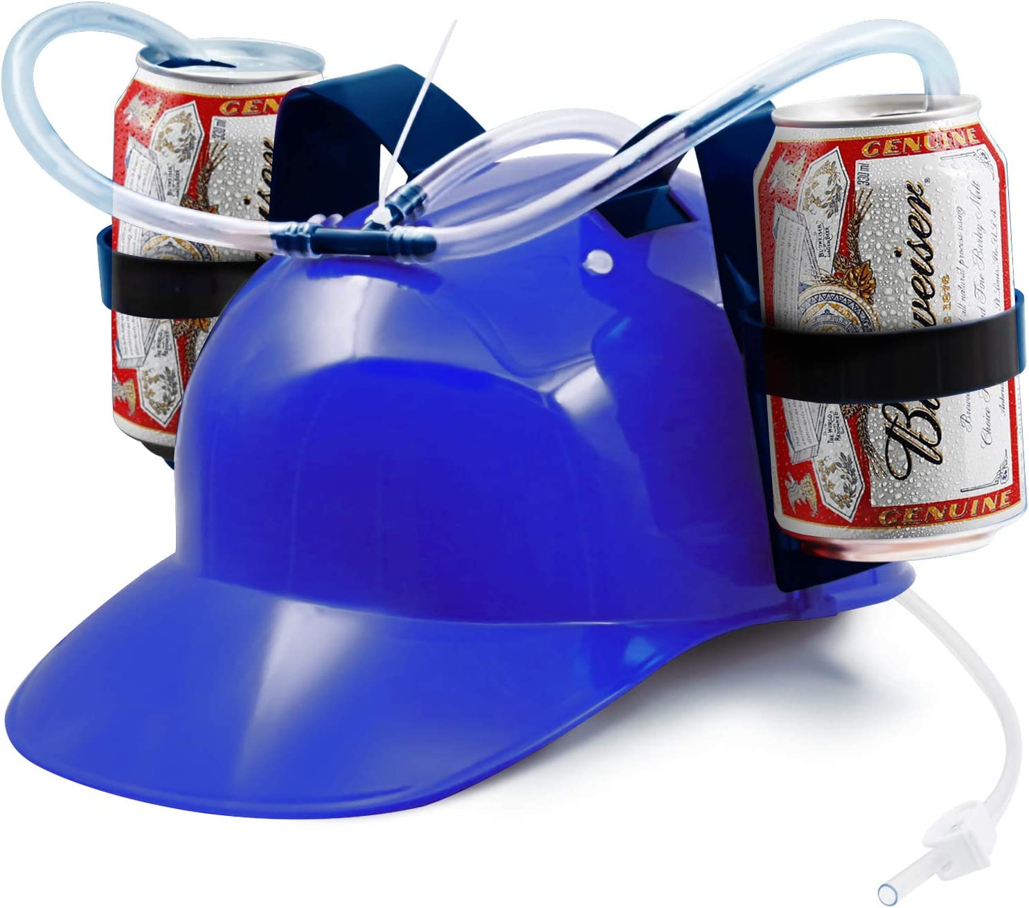 Novelty Place Guzzler Drinking Helmet - Adjustable Can Holder Cap Drinker Favor Hat - Straw for Beer Soda - Party Fun Beverage Gadgets(Blue)